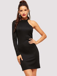 Asymmetrical Sleeve Form Fitting Dress