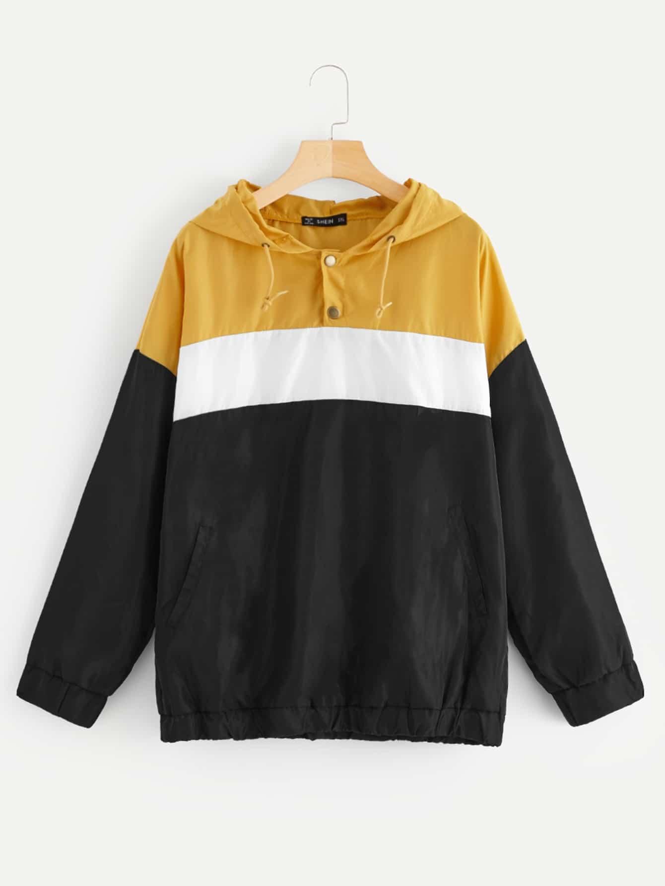 Купить Контрастная куртка с капюшоном размера плюс, null, SheIn
