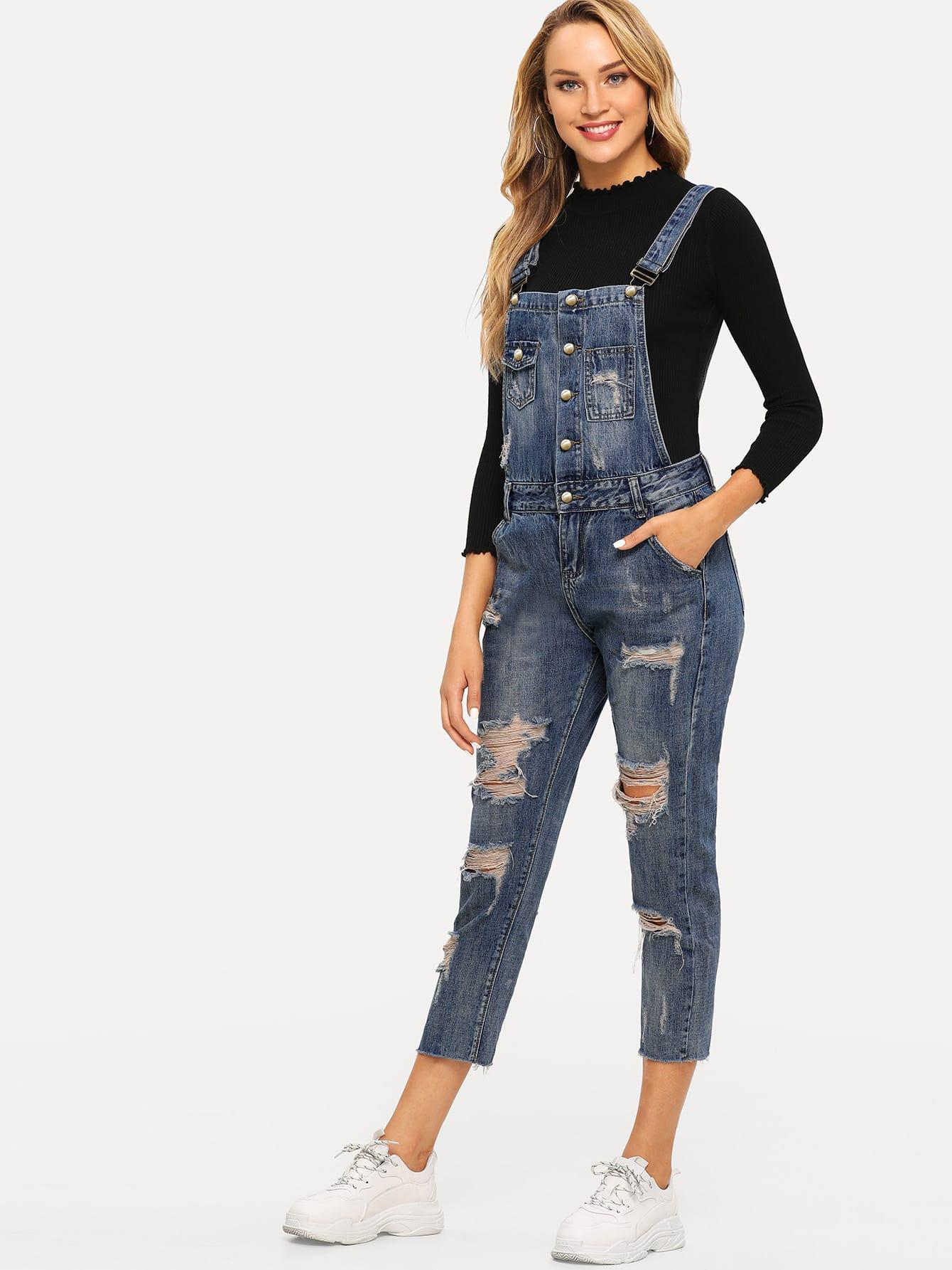 Купить Рваный джинсовый комбинезон, Sasa, SheIn