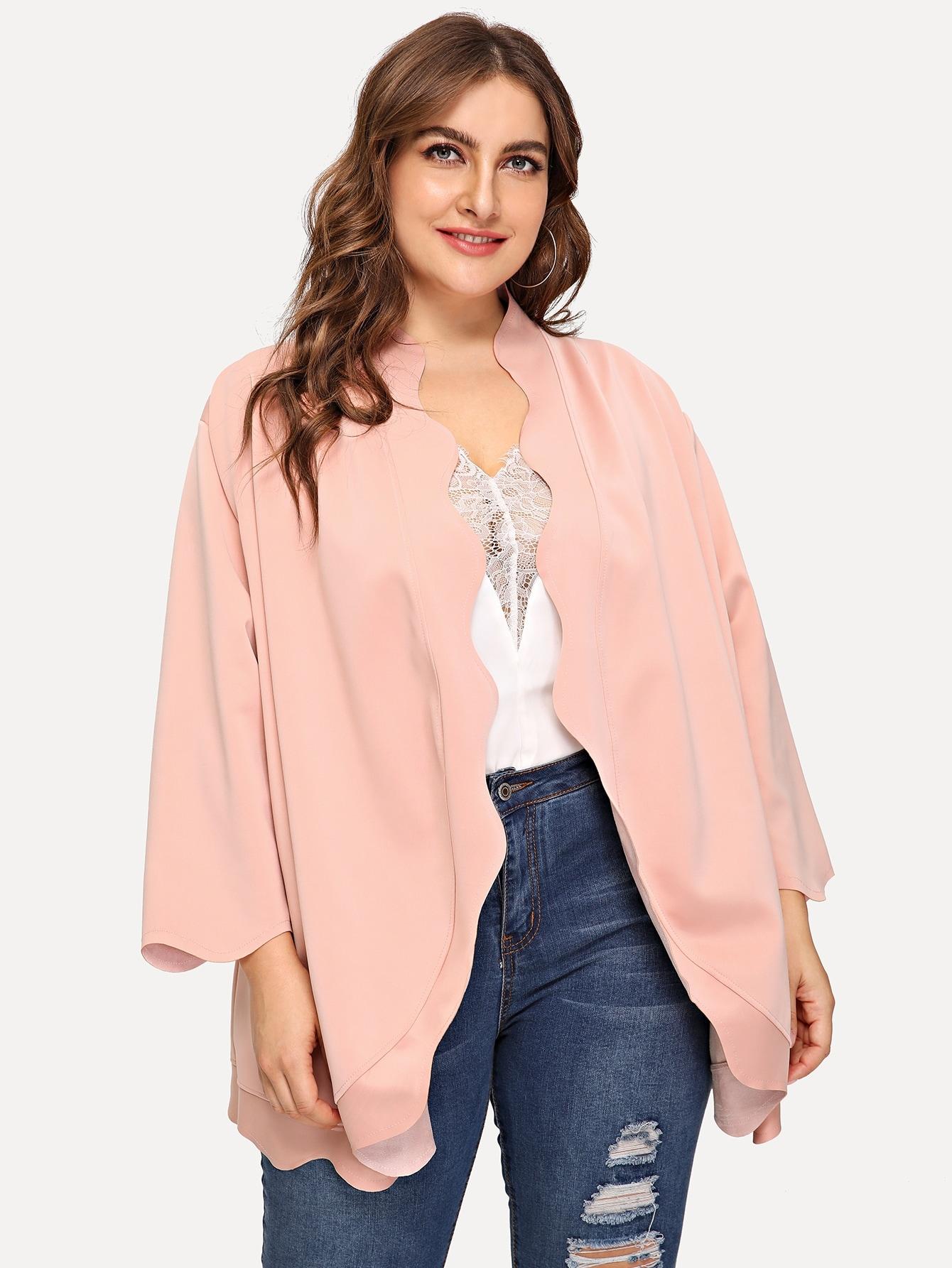Фото - Размера плюс открытое пальто с оригинальной отделкой от SheIn цвет розовые