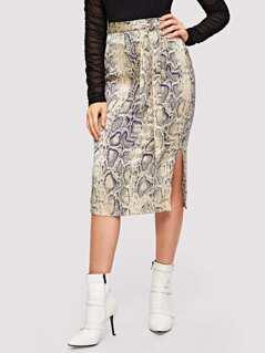 Snake Print Slit Skirt