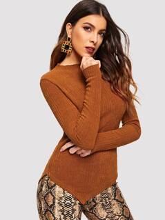 Lettuce Trim Asymmetrical Rib Sweater