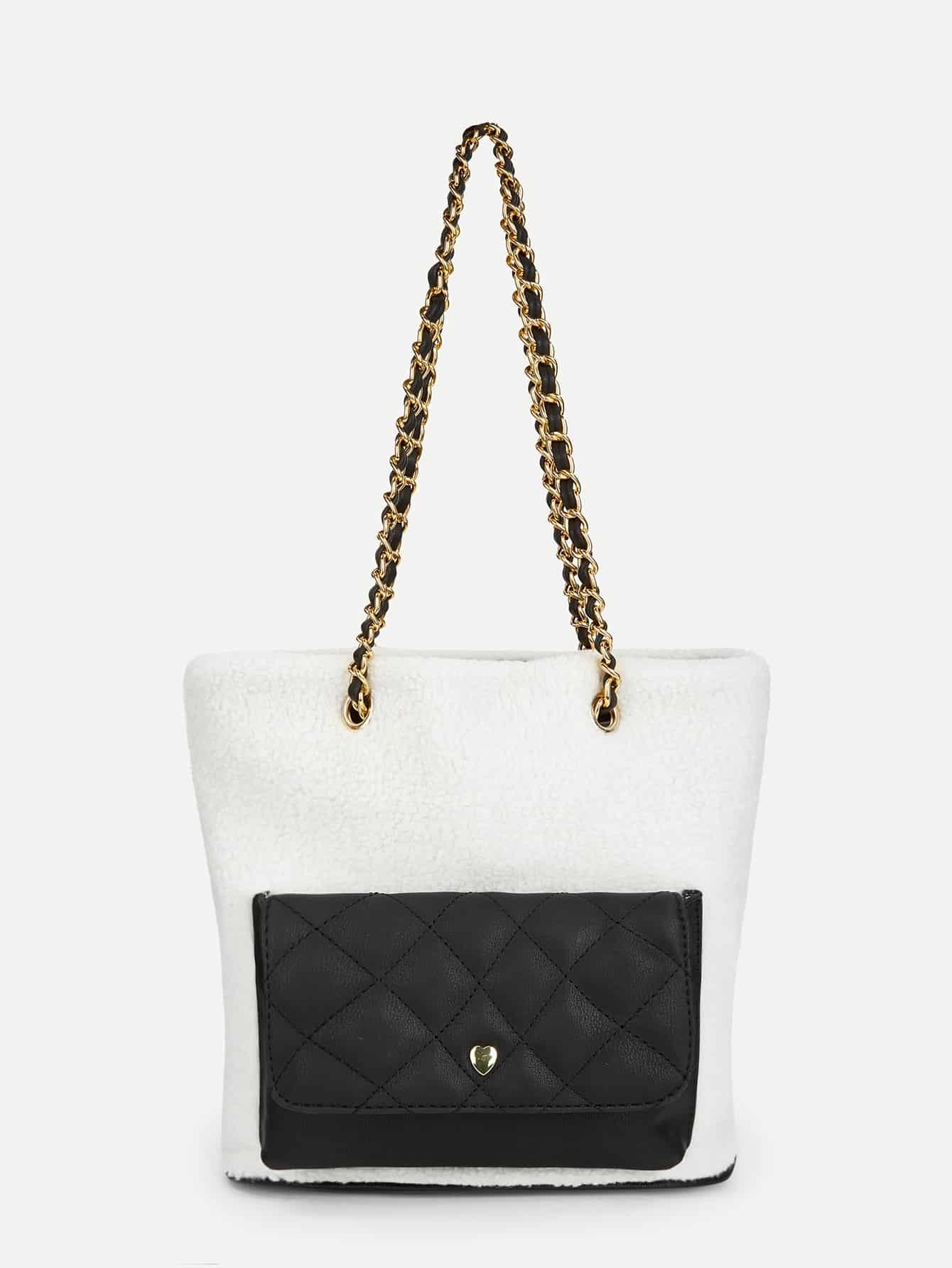 Купить Контрастная цепная сумочка с искусственным мехом, null, SheIn
