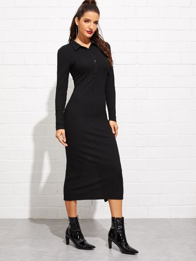 SheIn / Buttoned Front Rib Knit Polo Dress