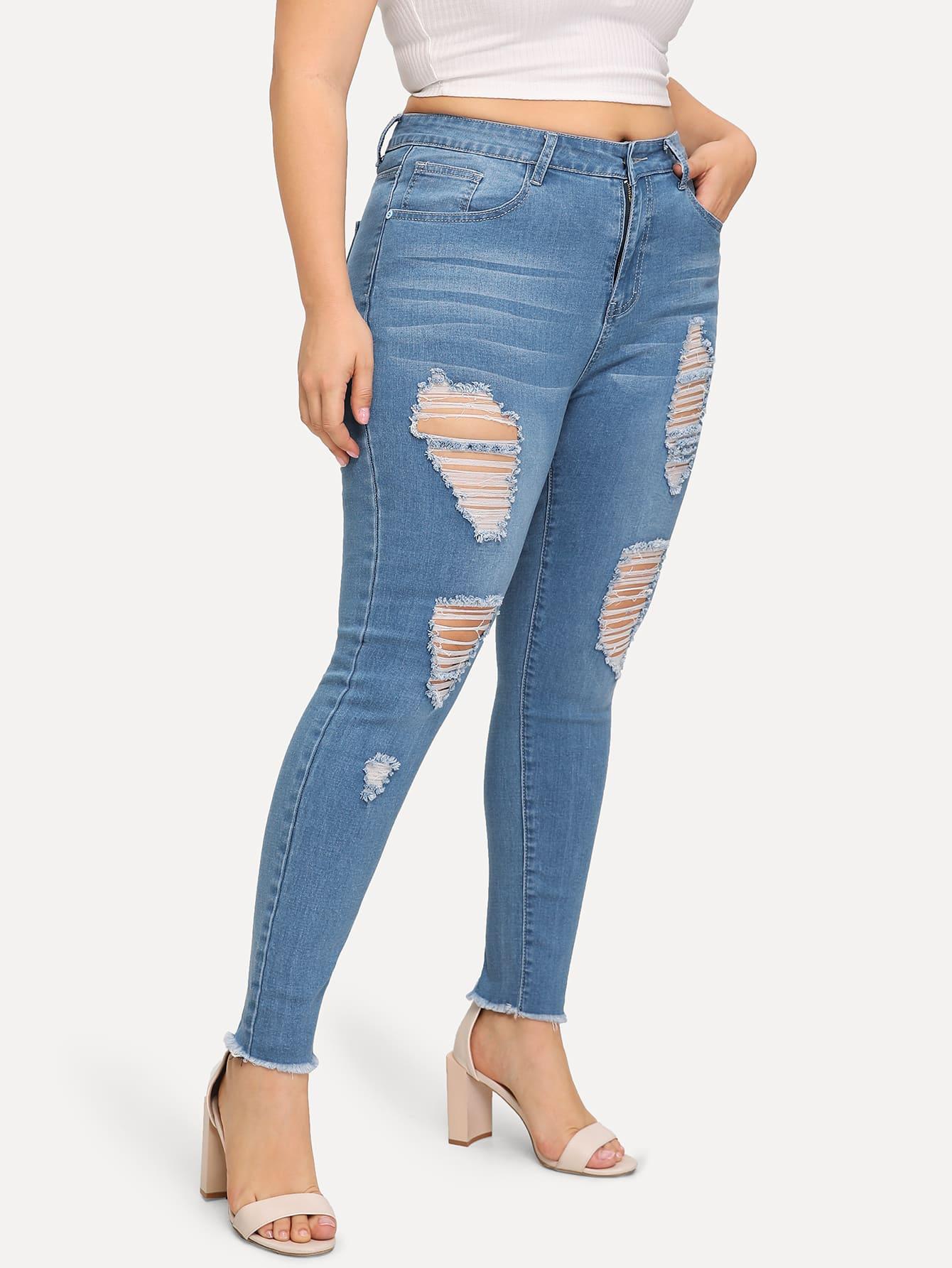 Купить Размера плюс рваные джинсы, Franziska, SheIn