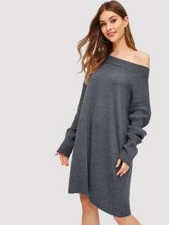 Batwing Sleeve Knit Dress