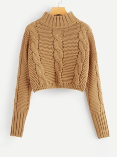 Drop Shoulder Cable Knit Crop Jumper