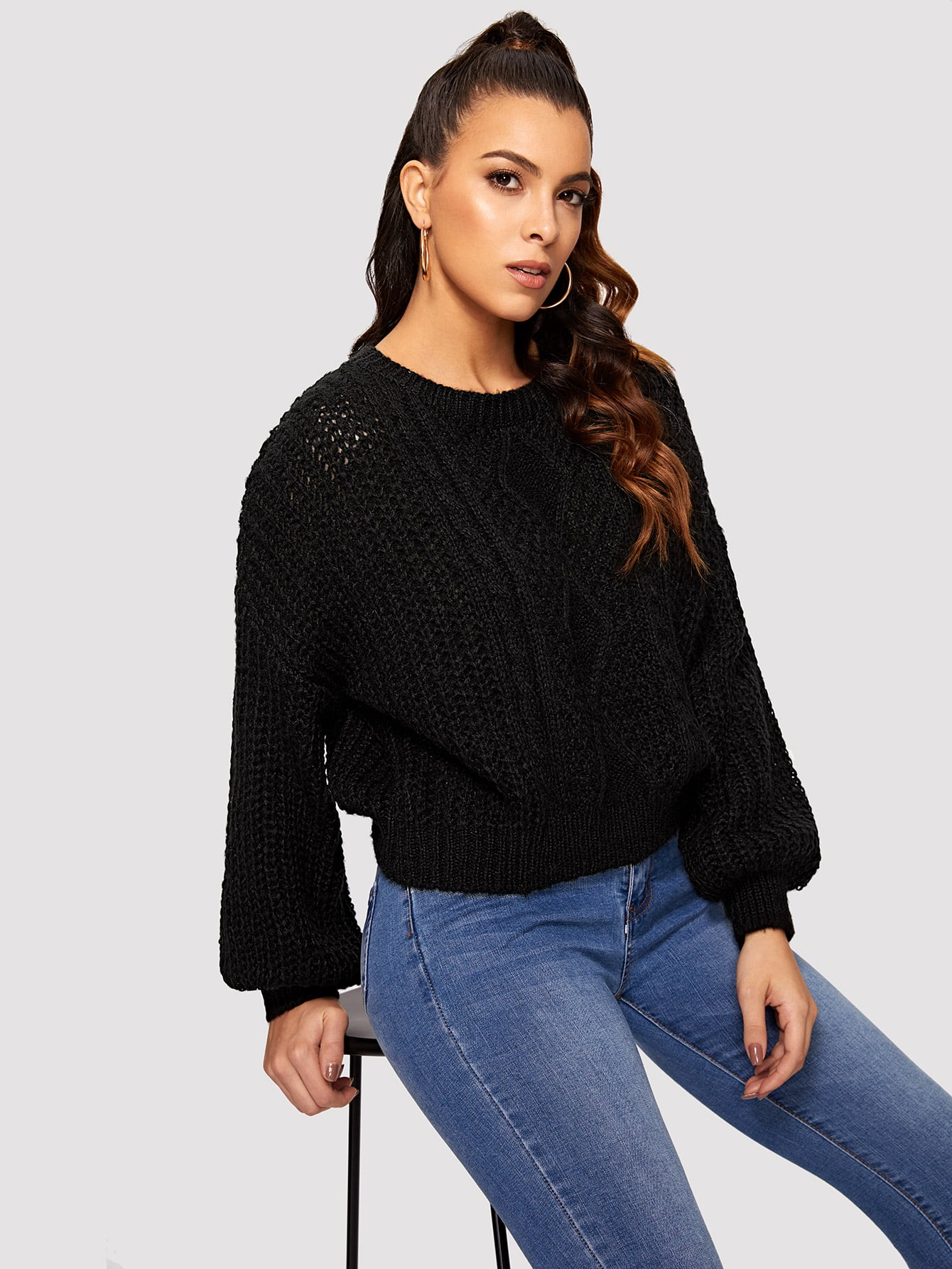 Купить Однотонный свитер со смешанной вязкой и оригинальным рукавом, DANI A, SheIn