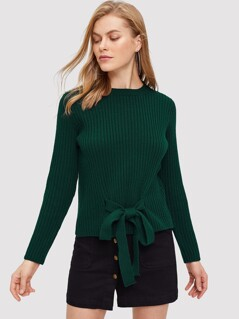 Knot Front Ribbed Knit Jumper