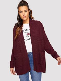 Pocket Patched Waffle Knit Cardigan