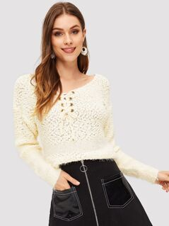 Grommet Lace Up Solid Fuzzy Jumper