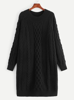 Solid Mixed Knit Sweater Dress