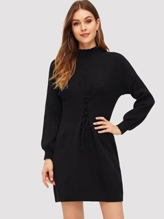 Lace Up Front Solid Sweater Dress