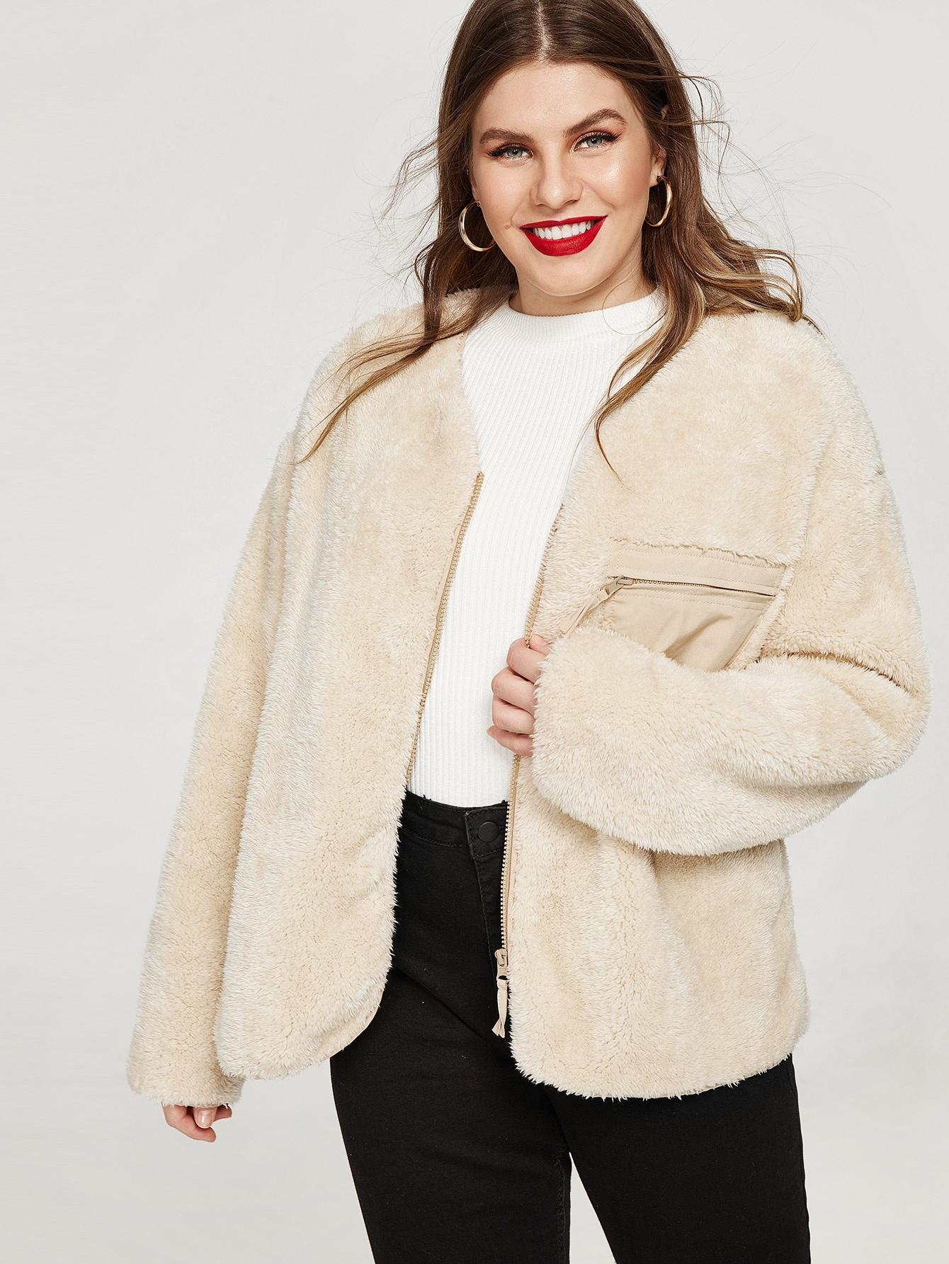 Купить Размера плюс пальто тедди с карманом, Isabela, SheIn