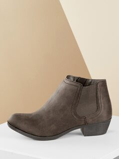 Short Heel Elastic Side Almond Toe Chelsea Booties
