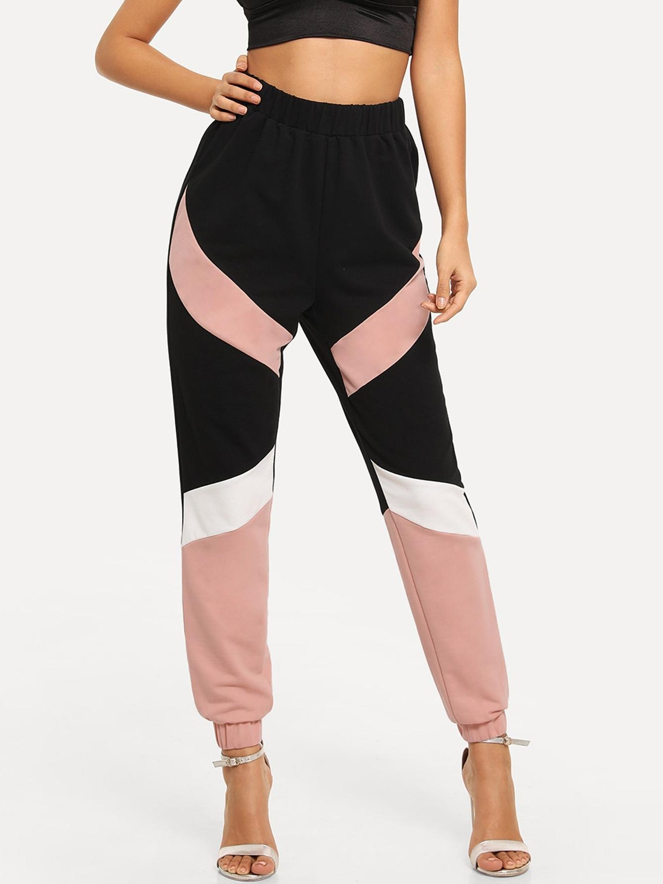 Фото - Контрастные брюки с эластичным низом от SheIn цвет многоцветный