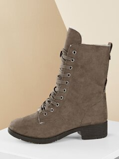Lace Front Low Heel Shearling Lined Military Boots