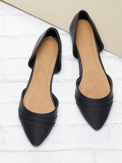 Pleated Pointed Toe Slip On Dorsay Ballet Flats