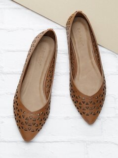 Perforated Slip On Flat Ballet Slippers