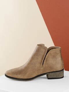 Side Zipper Chunky Heel Almond Toe Booties