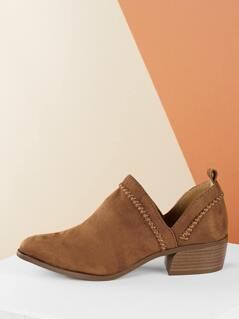 Split Shaft Whip Stitch Stacked Heel Ankle Boots