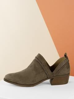 Whip Stitch Split Shaft Chunky Heel Ankle Booties