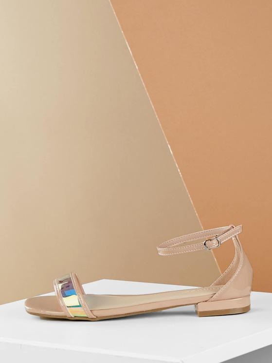 ed5c50a9f Single Band Ankle Strap Metallic Flat Sandals