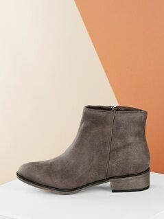 Crinkled Low Heel Almond Toe Side Zip Boot