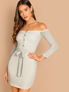 Off Shoulder Button Rib Knit Waist Tie Mini Sweater Dress