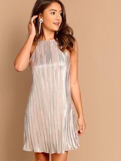 High Neck Metallic Pleated A-Line Mini Dress