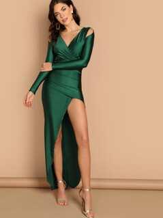 Shoulder Cut Out Deep V-Neck Side Slit Gown