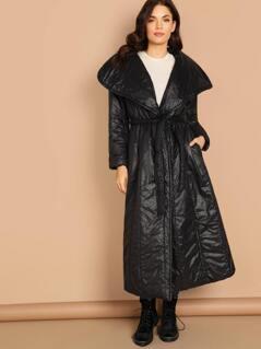 Shawl Collar Waist Tie Puff Trench Coat
