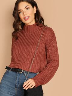 High Neck Knitted Pullover Sweater
