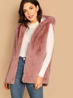 Faux Fur Hook Front Vest