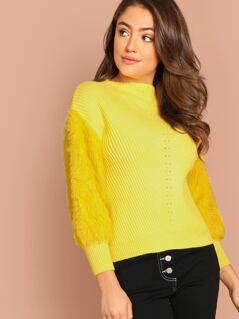 Fuzzy Faux Fur Knit Pullover Sweater
