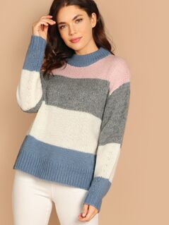 High Neck Turtleneck Color Block Pullover Sweater