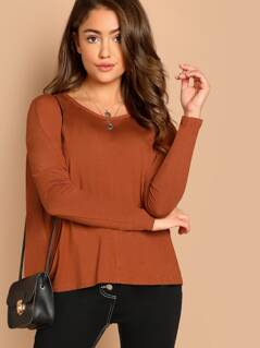 Round Neck Drop Long Sleeve Jersey Knit Top