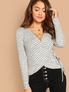 Striped Wrap Front V-Neck Long Sleeve Top