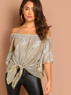 Metallic Off The Shoulder Tie Front Blouse