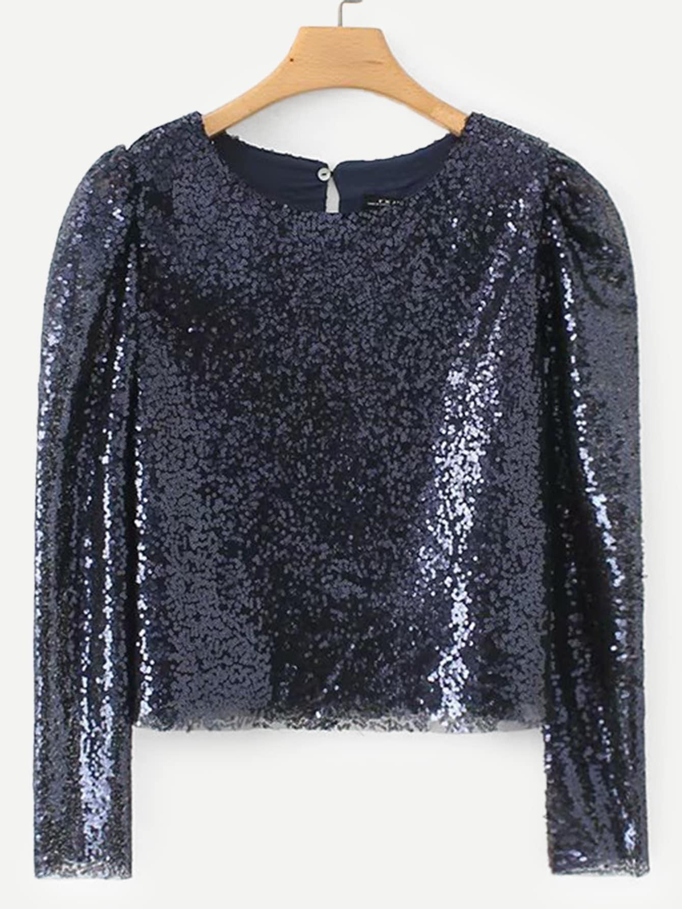 Купить Блуза с пайетками и вырезом сзади, null, SheIn