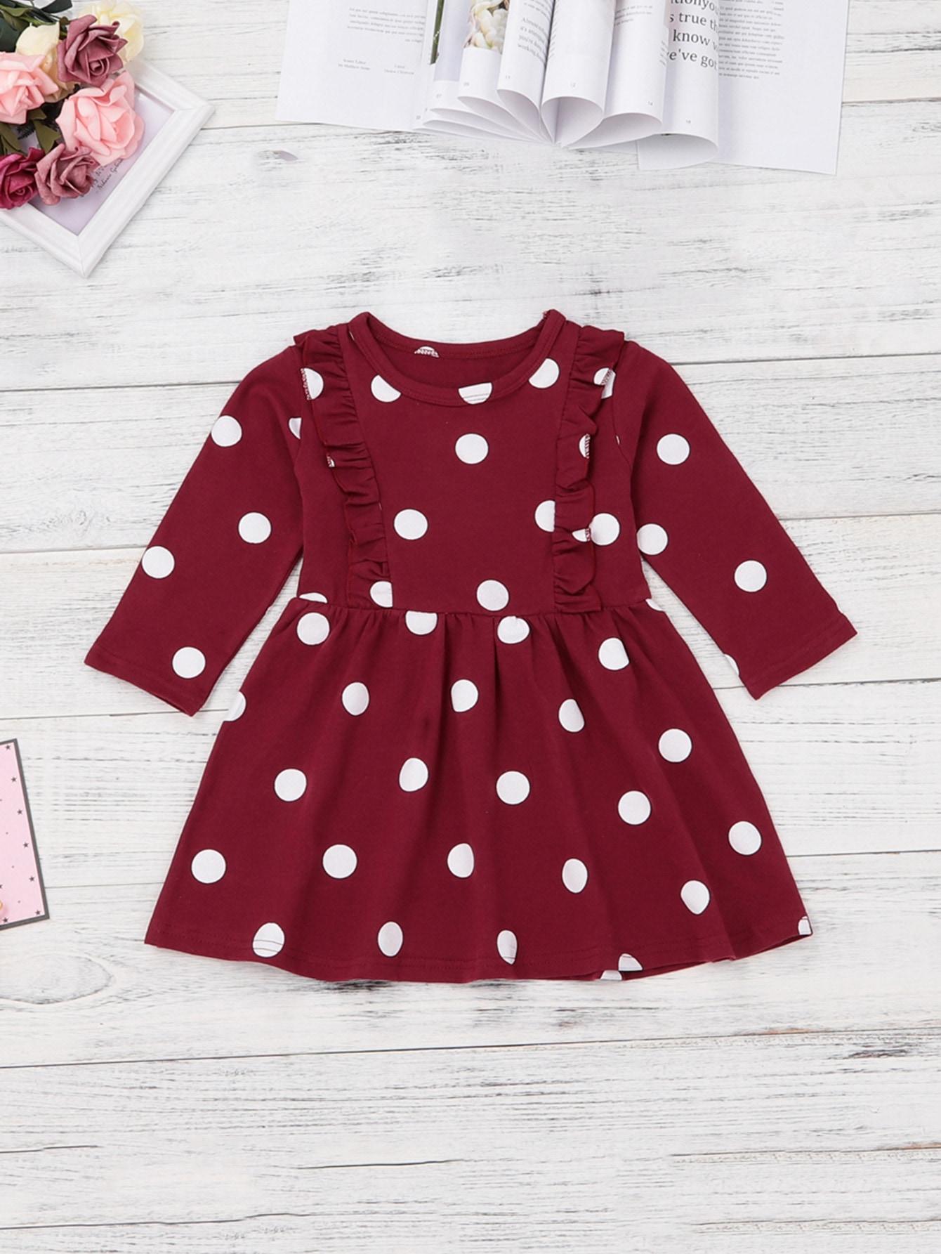 Купить Платье в горошек для маленьких девочек, null, SheIn