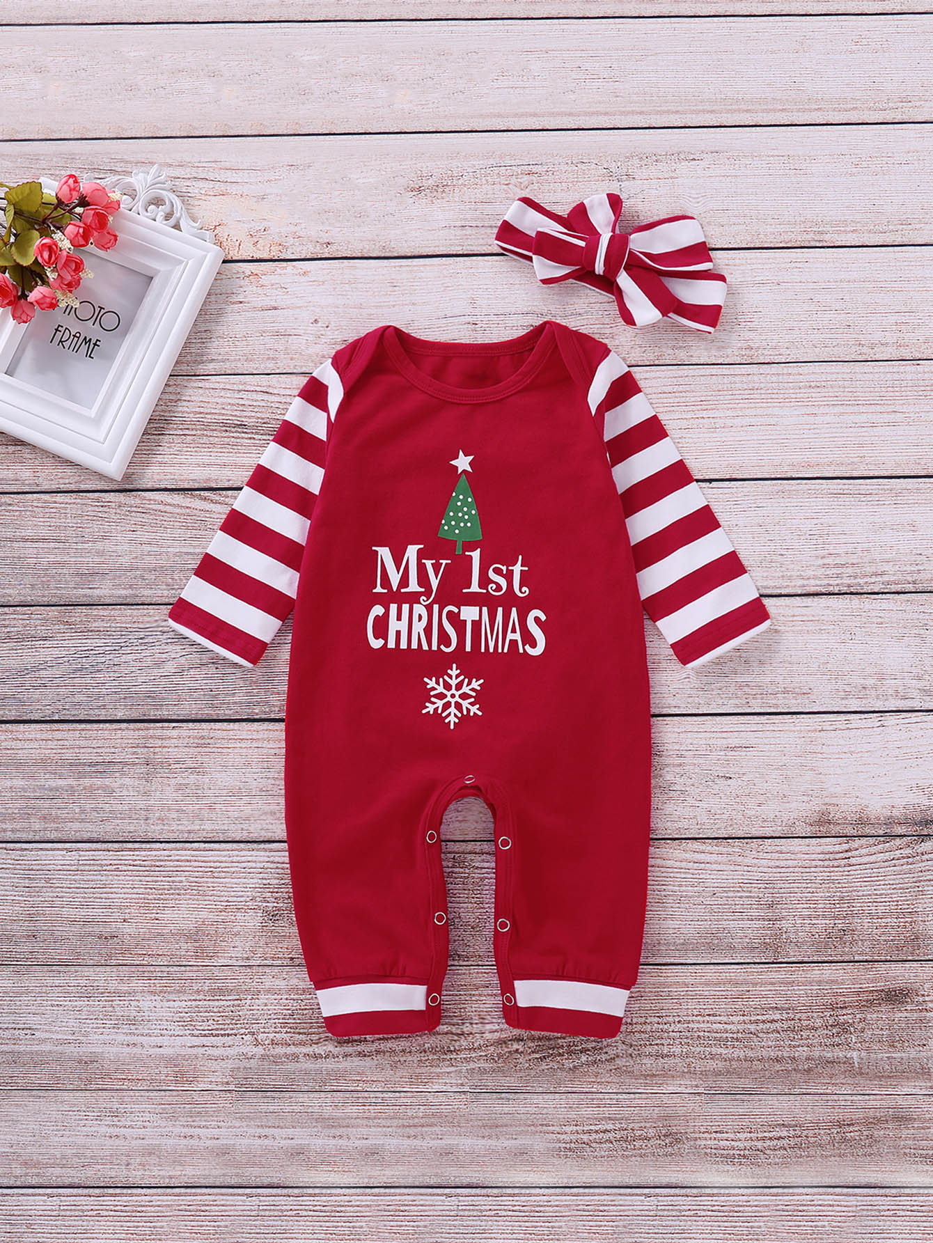 Купить Комбинезон с принтом рождественским и повязка на глаза для маленьких девочек, null, SheIn