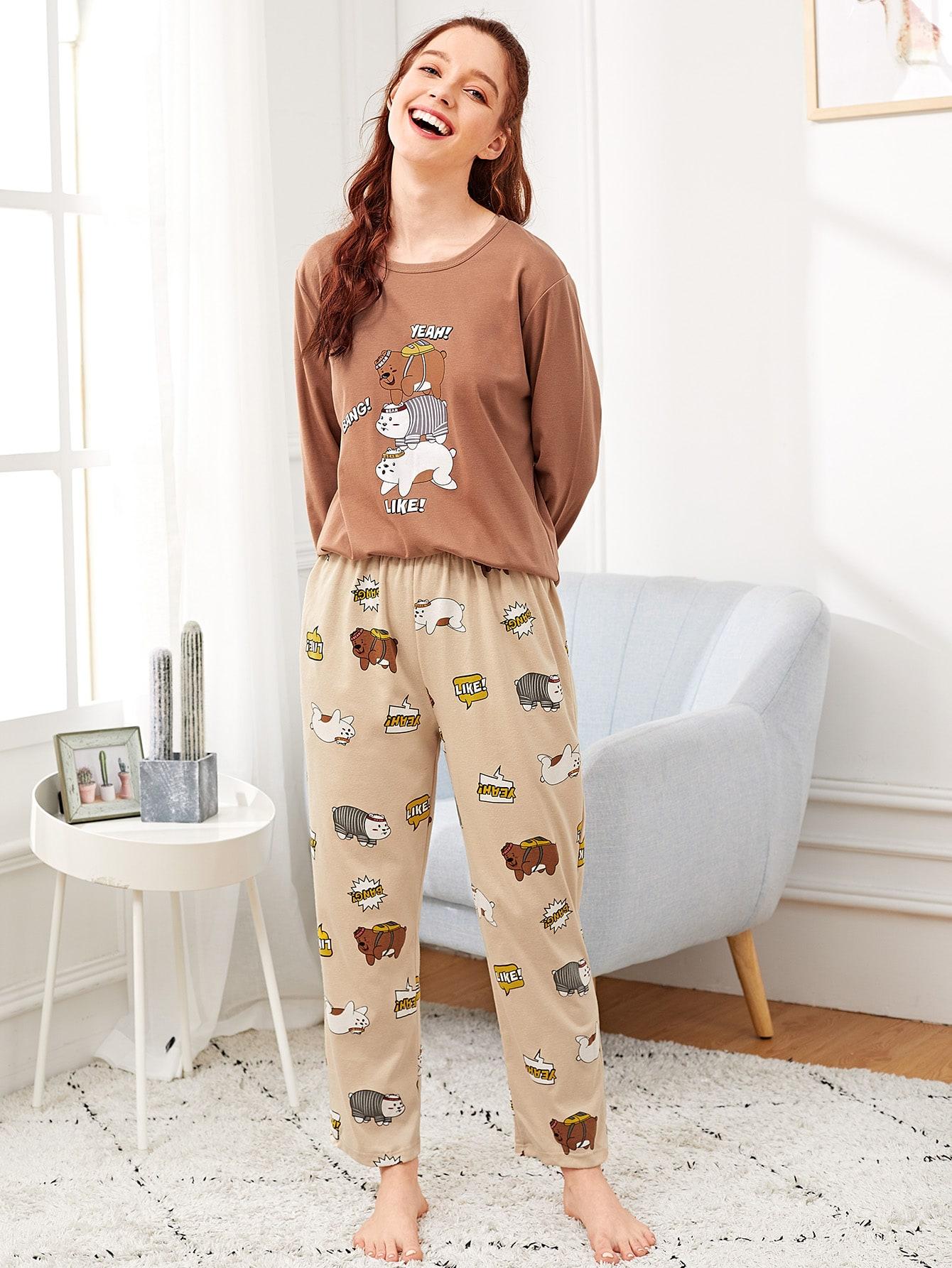 Купить Пижама с принтом мультяшным и текстовым, Poly, SheIn
