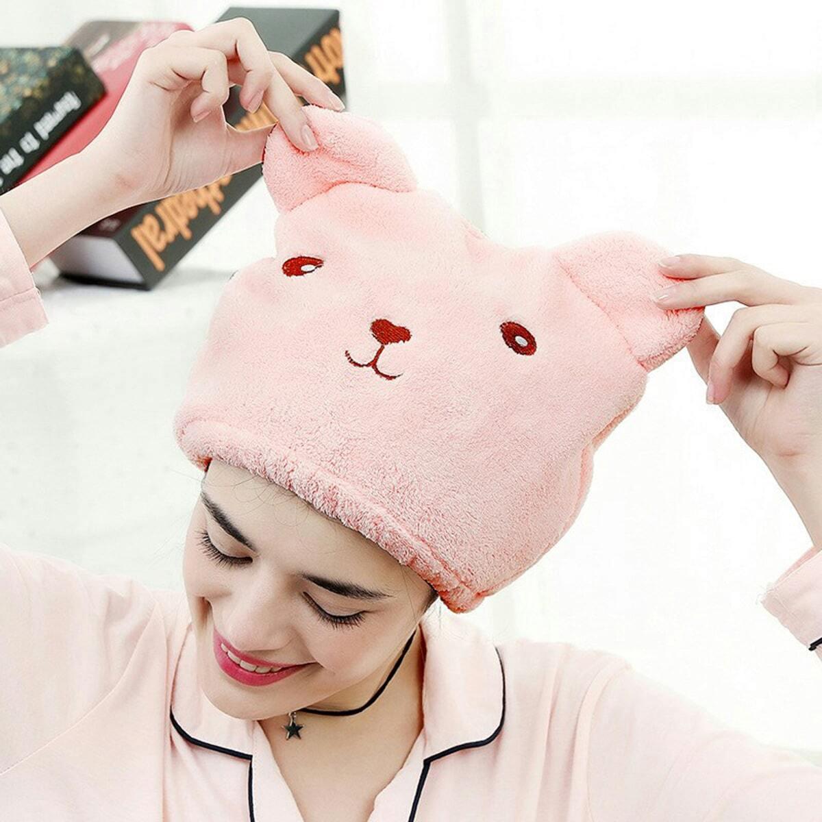 Roze  Haardroog hoofddeksel Handdoeken