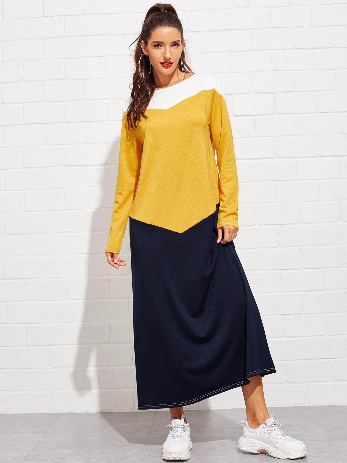 Купить Контрастное длинное платье, Juliana, SheIn