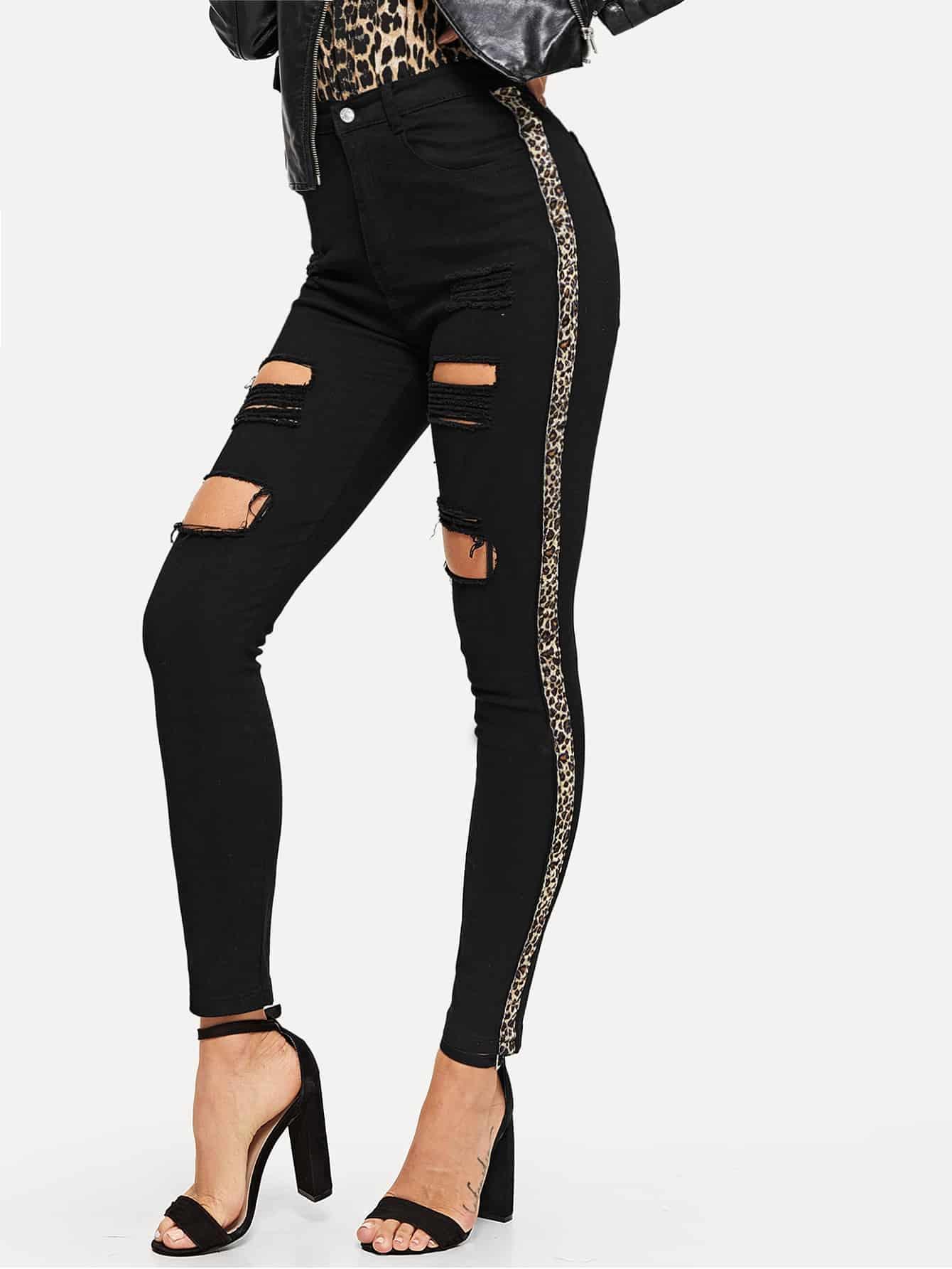 Купить Рваные джинсы с контрастным леопардовым принтом, Juliana, SheIn