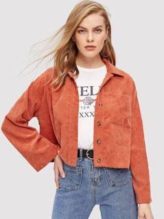 Button Up Pocket Front Corduroy Shirt