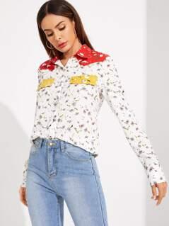 Color-block Floral Print Shirt