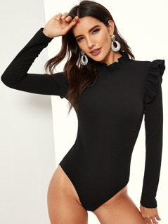 Frill Detail Slim Fitted Bodysuit