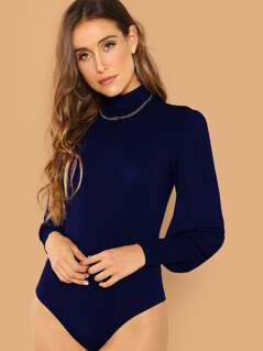 Mock-neck Lantern Sleeve Fitted Bodysuit
